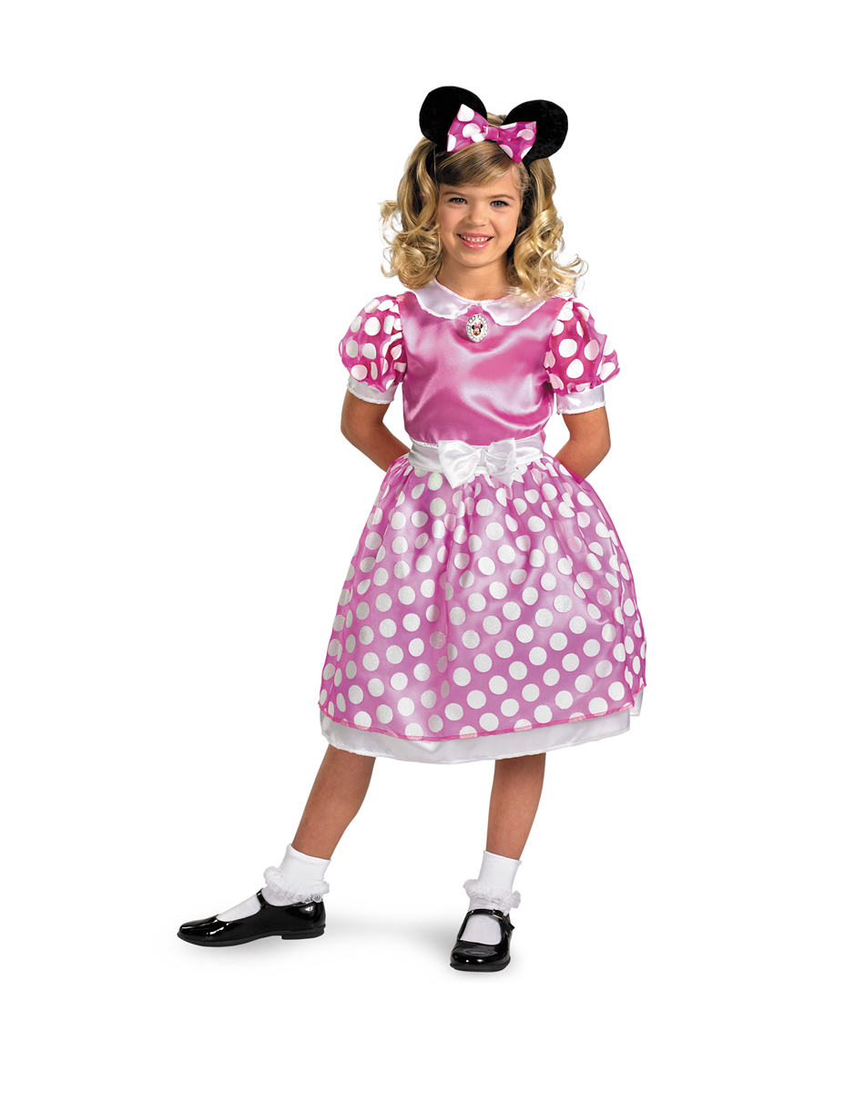 Disney Mickey Mouse Clubhouse Pink Minnie Mouse Glow-in-the-Dark Toddler Halloween Costume, Size 3T-4T See Details Product - Long Sleeve French Terry Peplum Tunic & Leggings, 2-Piece Outfit Set (Baby .